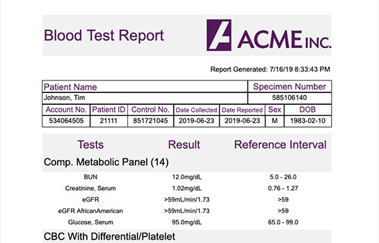 Business Intelligence Report - Blood Test Results Healthcare Report